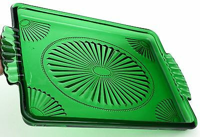 Vintage Avon Emerald Accent Green Beveled Glass Serving Tray Deco Decanter Bar