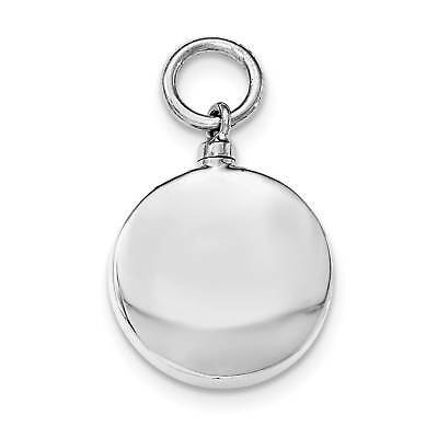 Sterling Silver Polished Round Ash Holder Hollow Opens Charm Pendant