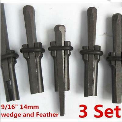 "9/16"" Plug Wedge & Feather Shim Concrete Rock Stone Splitting Hand Tool 3 set XD"