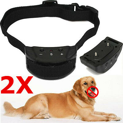 2X Collare Antiabbaio Addestramento Anti Abbaio Bark Shock Stopper Cani Cane Uk