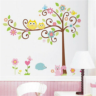 Removable Owl Tree Squirrel Wall Sticker Art Mural Decal Kids Room DIY Decor