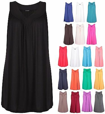 Womens Plus Size V Neck Ladies Sleeveless Ruched Gathered Vest Long T-shirt Top