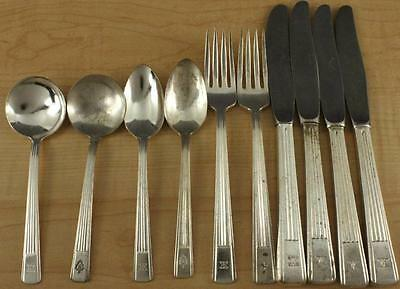 Vintage Advertising Estate HILTON HOTELS 10Pc Lot Silverplate Stainless Flatware