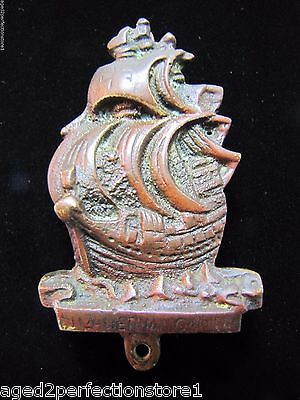 Old Small Ship Door Knocker interior dk bronze brass ornate Elizabethian Galleon