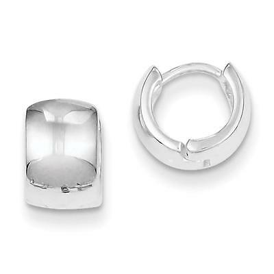 Sterling Silver Polished Huggy-Style Hinged Earrings 6mm x 8mm