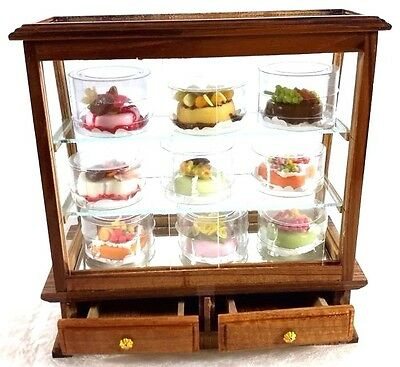Miniature Dollhouse Wood Cake Bakery Plastic Cabinet 9 Cakes Collectible Display