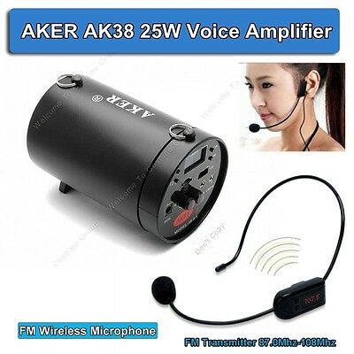 AKER AK38 25W Portable PA Voice Amplifier Booster With FM Wireless Microphone