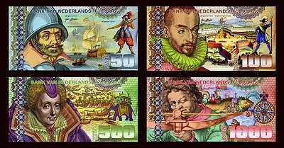 SET Netherlands Ceylon, 50;100;500;1000 Gulden, 2016, Private Issue POLYMER, UNC