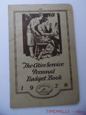 1928 Cities Service Gas Oil Co. Advertising Personal Budget Book Vintage Unused