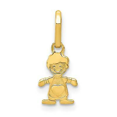 14k Yellow Gold Polished Little Boy Textured Back Flat Charm Pendant