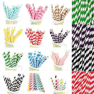 25x Vintage Stripe Paper Drinking Straws Birthday Party Wedding Table Decoration