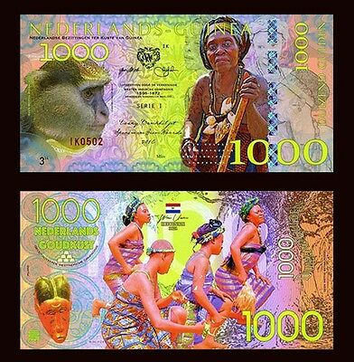 Netherlands Guinea (Ghana) 1000 Gulden, 2016 Private Issue POLYMER, UNC   Monkey