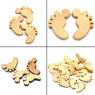 50pcs/bag Wooden Baby Feet Shapes Laser Cut MDF Blank Buttons Craft Decor