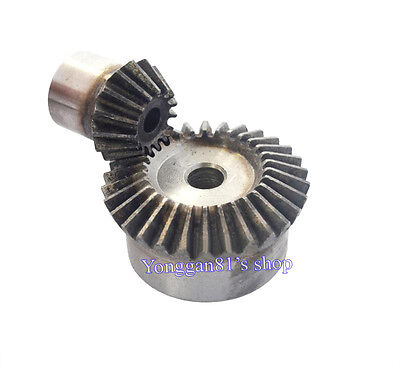 2PCS  Bevel gear Metal gear 90 ° pairing Bevel gear 1.5. 1.5m 15T and 30T 1:2