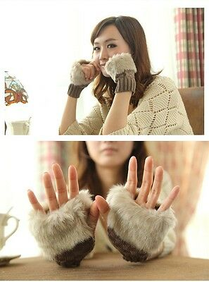 Gloves Fingerless Hand Wrist Faux Rabbit Fur Winter Warmer Popular Womens W1E