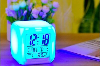 7 Colors Clock LED Digital Alarm Thermometer Night Glowing Cube  Change LCD