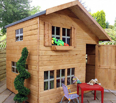 NEW WOODEN PLAYHOUSE 8x6 WOOD 2 FLOOR KIDS PLAY WENDY HOUSE CHILDS OUTDOOR TOYS