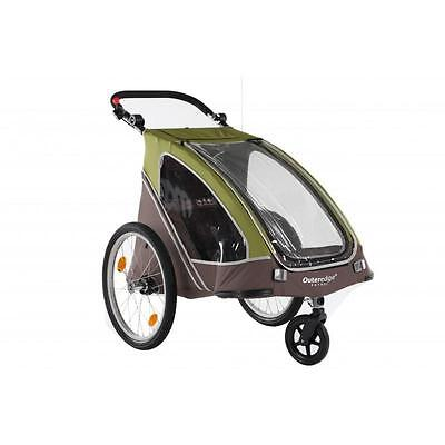 """Outeredge Patrol Alloy Folding 20"""" Wheel Bike Cycle Childs Duo Stroller Trailer"""