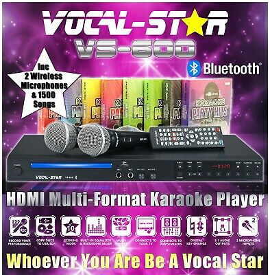 Vocal-Star Vs-600 Cdg Dvd Hdmi Karaoke Machine 2 Wireless Mics & 1200 Songs