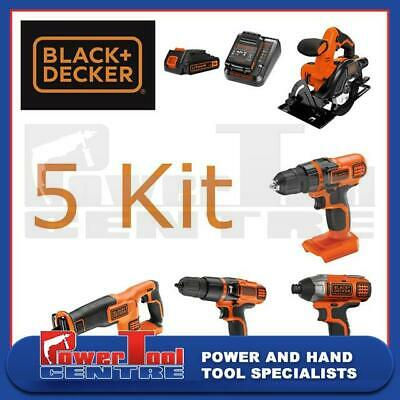 Black & Decker 5 Tool Cordless Combo Kit With Charger & 2 18v Lithium Batteries