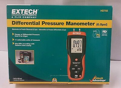Differential Pressure Manometer (0.5psi) Extech HD755