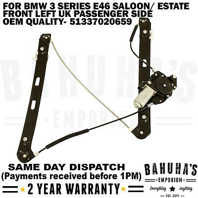 Bmw E46 3 Series Front Left Side Electric Window Regulator With 2 Pin Motor New