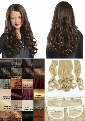 "New Ladies Curly Clip In 3 Piece Set Weft 20"" Hair Extensions Koko Uk 29 Colors"