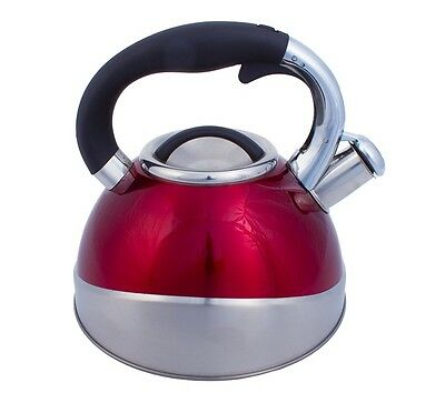 Stainless Steel Tea Kettle – 2.8 L Red Whistling Kettle