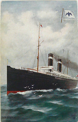 POSTCARD-AMERICAN LINE -S.S.ST LOUIS.TUCK OILETTE CELEBRATED LINERS EARLY 1900's