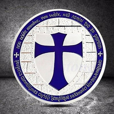 Cross Crusader Knights Templar Purple Commemorative Coin Art Collection Gift
