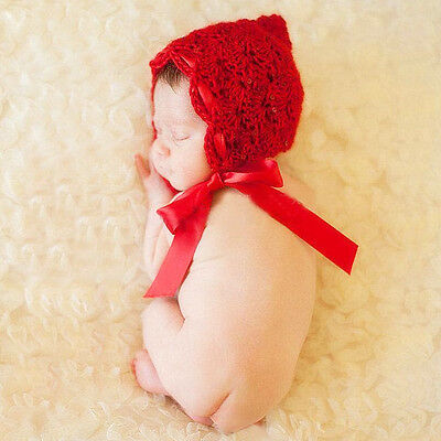 Red Color Infant Crochet Baby Beanie Silk Ribbon Kids Knitted Hat Photo Props