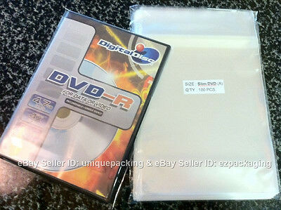 100 Pcs Clear Slim DVD Case Cello Cellophane Bags non shrink