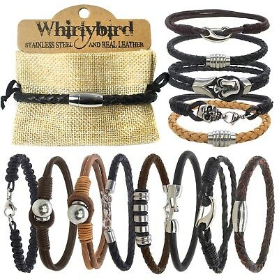 Mens Boys Real Braided Leather and Stainless Steel Metal Bracelet Wristband
