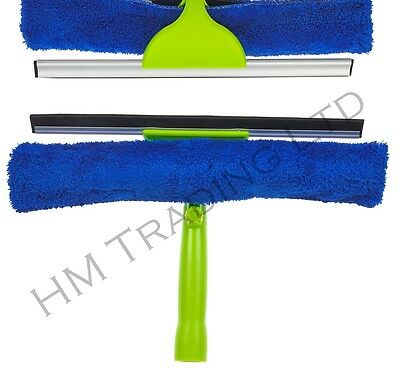 HARRIS Double Sided Glass Window squeegee Cleaner Microfibre Pad Wiper Wash