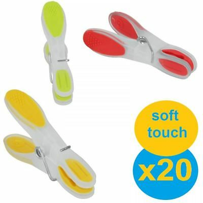Set Of 20 Strong Plastic Soft Touch Grip Clothes Hanging Washing Line Airer Pegs