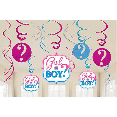 12 Gender Reveal Baby Shower Party Boy Girl Assorted Hanging Swirl Decorations