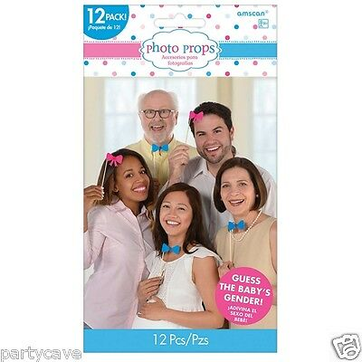 Gender Reveal Baby Shower Party Boy Girl Bow Tie Photo Props Decoration x 12