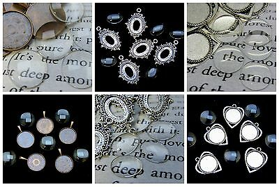 5 Pc Alloy Pendant and Cabochon Setting Pack Jewellery Craft Charm Beading ML