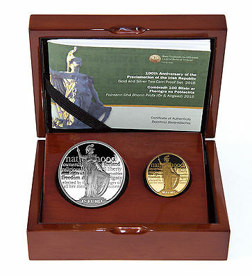 Ireland 50 & 15 Euro 2016 Silver Gold Proclamation Irish Historic Coin Set