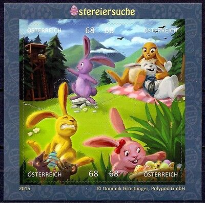 Austria 2015 Puzzle Comics Easter Bunny's Rabbits Animation m/s MNH