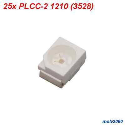 25x LED SMD PLCC-2 PLCC2 1210 (3528) BLANCO 2500MCD - Superbright WHITE LED
