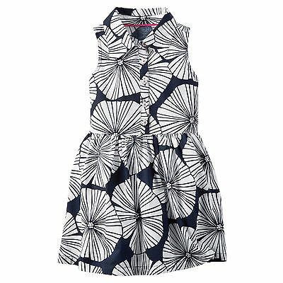 New Carter's 6 year Girls Floral Navy White Shirt Dress Tropical Flowers Summer