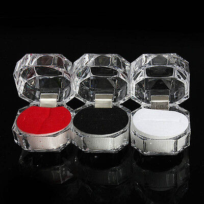 3pcs Clear Crystal Ring Box Earrings Brooch Storage Display Case Hot Sale