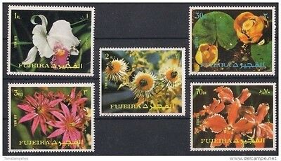 Fujeira 1972 Flowers Orchids Water Lily Plants 5v set MNH