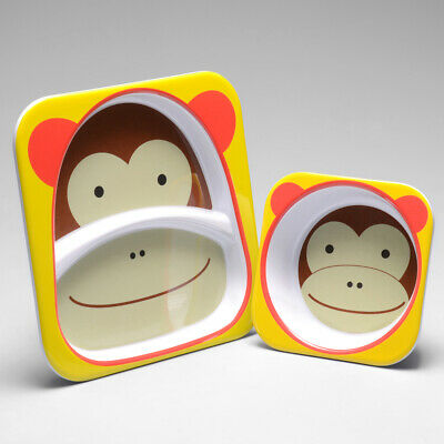 Skip Hop Zoo Melamine Plate and Bowl Set MONKEY Feeding Set Dishwasher Safe NEW