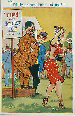 """POSTCARD-COMIC-RACING-""""I'D LIKE TO GIVE HER A HOT ONE!"""".1920's"""