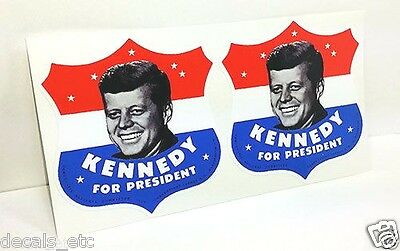 PAIR OF 3 INCH President Kennedy Vintage Style DECALS / Vinyl STICKER