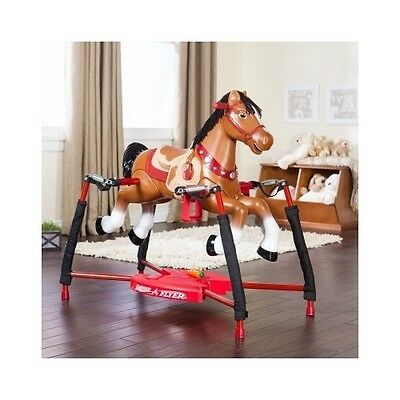 Toy Rocking Horse Kids Rocker Spring Bouncy Swing Ride On Hobby Jump Radio Flyer