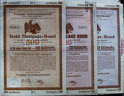 Lot of 4 different. German Prussian Gold Mortgage bond 1/1925 small size.