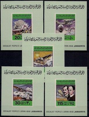 Libya 1978 First Planes Wright Bleriot Lindbergh Aviation DeLuxe Mi 682-686B MNH